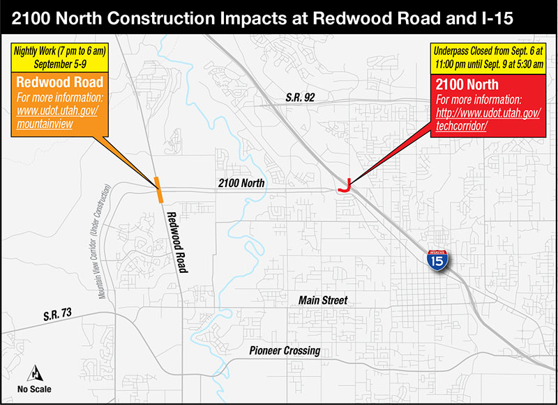 Map - 2100 North Construction Impacts at Redwood Road and I-15