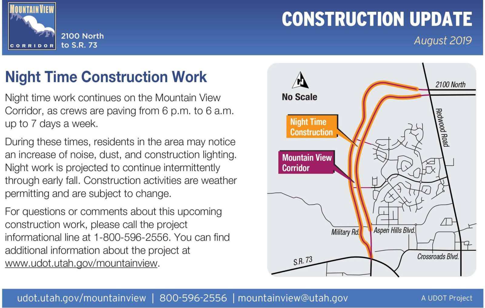 Nighttime Construction Update August 2019